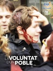 """Fotomuntatge amb la foto del noi ferit i els eslògans de CiU: """"La voluntat d'un poble"""" i """"Fem-ho possible""""- Daniel Aguilar"""