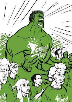 Imatge compartida a Twitter per Jordi Sàlvia (@jordisalvia), amb l'increïble Hulk, el superheroi de còmic, cridant per l'educació pública.